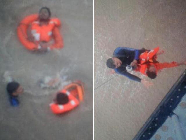 Combination-photo-of-rescue-of-14-crew-members-of-MV-Coastal-Guard-by-Indian-Navy-and-Coast-Guard-Courtsey-Twitter-handle-of-Sitanshu-Kar-spokesperson-of-ministry-of-defence