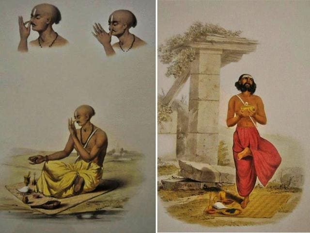 Christened-Morning-Prayers-of-Brahmins-the-exhibition-is-an-assemblage-of-selected-prints-from-S-C-Belnos-celebrated-1851-album-Sundhya-featuring-24-plates-depicting-Indian-priests-or-Brahmins-paying-obeisance-to-nature-their-gestures-poses-as-well-as-the-accessories-Photo-courtesy-Victoria-Memorial-Hall-Kolkata-Facebook