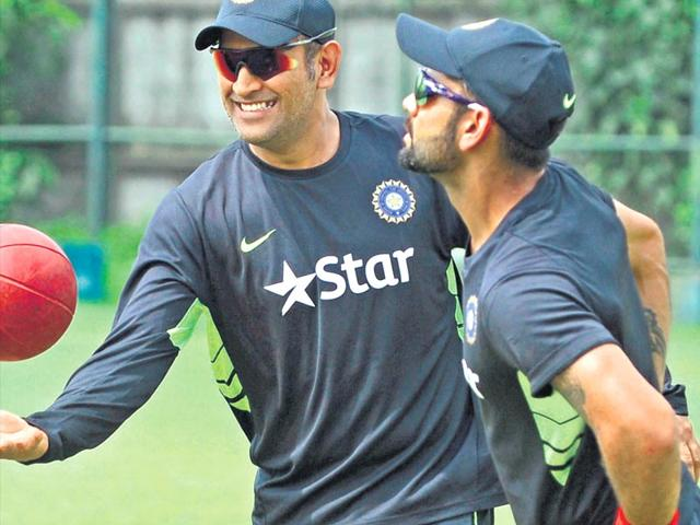 There-has-reportedly-been-tension-between-Test-captain-Virat-Kohli-and-his-ODI-counterpart-Mahendra-Singh-Dhoni-HT-Photo