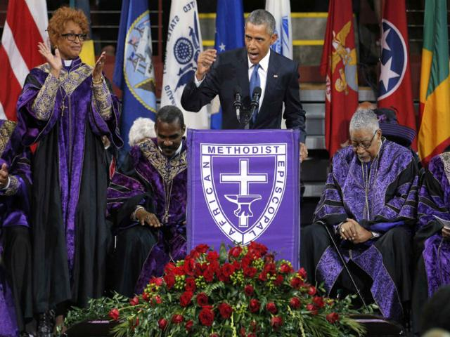 US-President-Barack-Obama-pauses-while-delivering-the-eulogy-during-the-funeral-of-Rev-Clementa-Pinckney-AFP-Photo