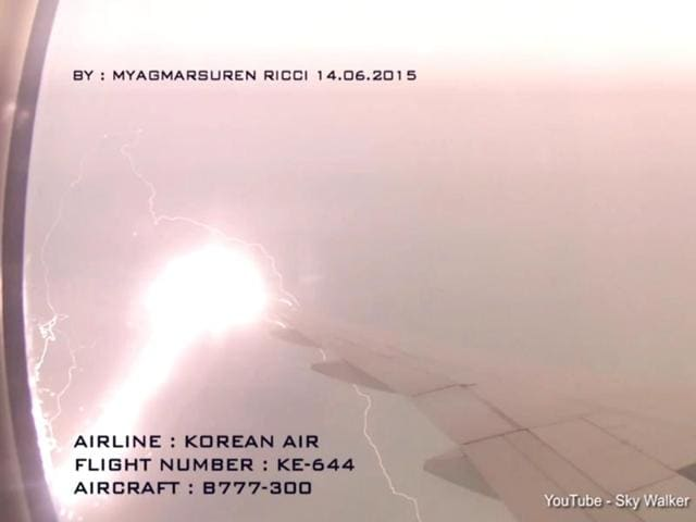 Sparks-can-be-seen-as-the-wing-of-the-aircraft-is-struck-by-lightning