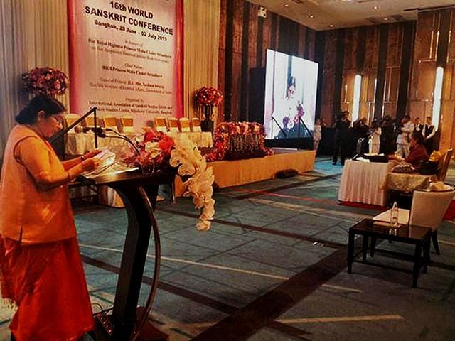 External-Affairs-Minister-Sushma-Swaraj-addresses-the-16th-World-Sanskrit-Conference-in-Bangkok-on-Sunday-PTI-Photo