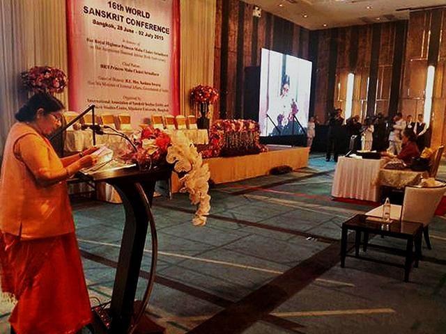 External-Affairs-Minister-Sushma-Swaraj-addresses-the-16th-World-Sanskrit-Conference-in-Bangkok-on-Sunday-PTI-Photo
