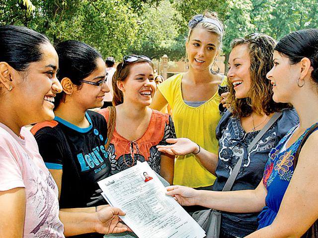 Students-from-all-over-the-world-talk-among-themselves-in-DU-HT-File-Photo
