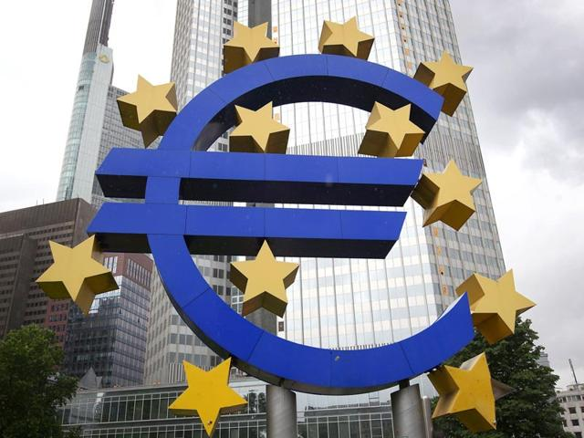 The Euro logo in front of the former headquarters of the European Central Bank (ECB) in Frankfurt am Main, western Germany.