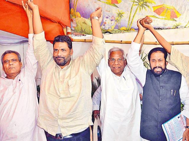 Pro-Mandal-leaders-at-a-meeting-in-Patna-on-Sunday-AP-Dube-HT-Photo