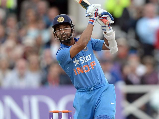 Ajinkya Rahane in action during the fourth day of the second Test between Sri Lanka and India at the P Sara Oval Cricket Stadium in Colombo on August 23, 2015. (Reuters Photo)