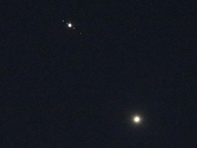 The-planets-Venus-bottom-and-Jupiter-top-center-light-the-sky-above-Matthews-North-Carolina-on-Monday-June-29-2015-The-two-brightest-planets-appeared-to-be-unusually-close-together-Monday-AP-Photo