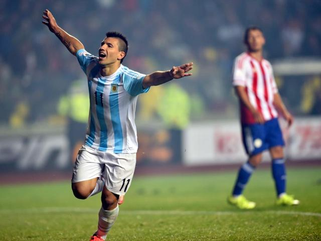 Argentina-s-forward-Sergio-Aguero-celebrates-after-scoring-against-Paraguay-during-the-Copa-America-semifinal-football-match-in-Concepci-n-Chile-AFP-Photo