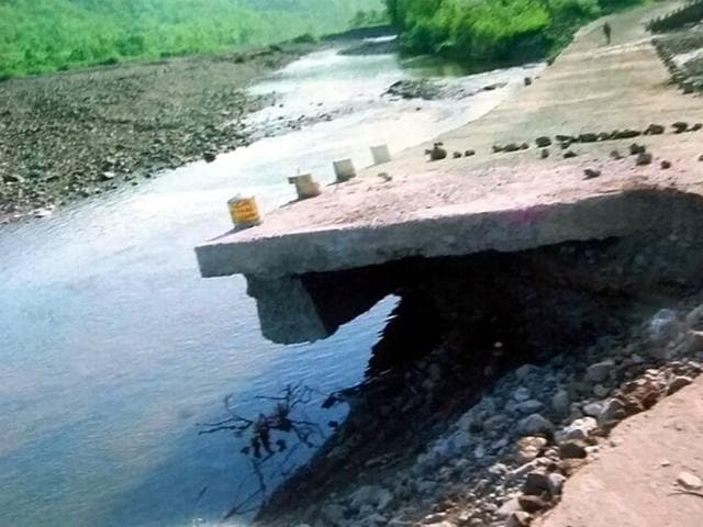 The-culvert-between-Choral-and-Kalakund-that-was-washed-away-because-of-rainfall-HT-photo