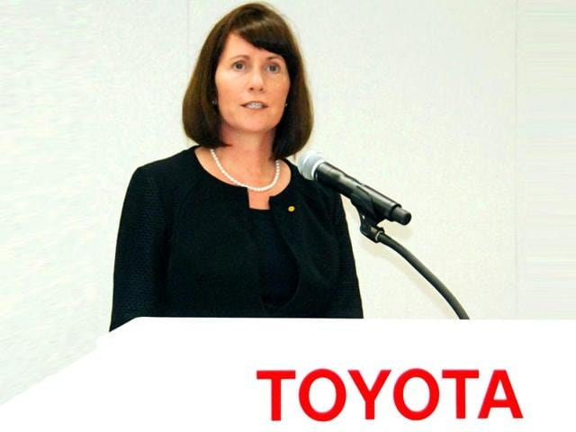 In-this-file-photo-Toyota-Motor-Corp-s-head-of-public-relations-Julie-Hamp-speaks-during-a-press-conference-in-Toyota-central-Japan--Kyodo-News-via-AP
