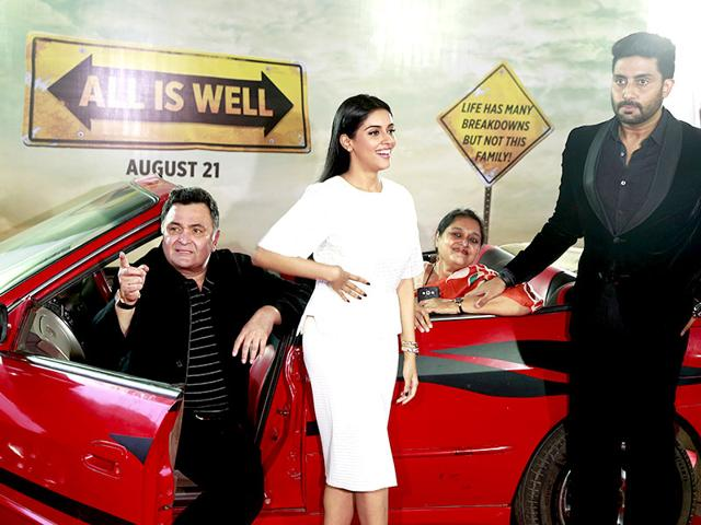 Rishi-Kapoor-and-Abhishek-Bachchan-and-Supriya-Pathak--in-a-poster-of-All-is-Well