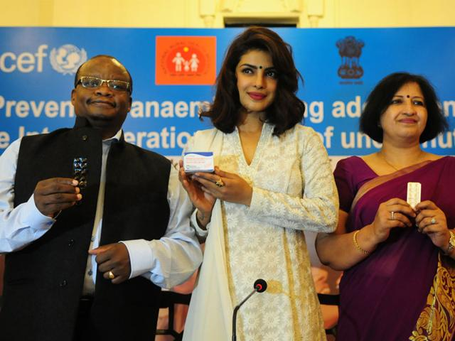 Actor-Priyanka-Chopra-raised-the-pitch-for-iron-and-folic-acid-supplements-for-adolescent-girls-and-boys-to-prevent-anaemia-at-a-session-organised-by-UNICEF-in-Bhopal-on-Thursday-Deputy-representative-of-UNICEF-India-James-Gitau-was-present-on-the-occasion-Mujeeb-Faruqui-HT
