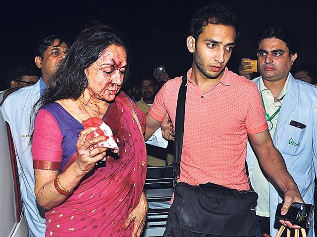 Hema-Malini-s-Mercedes-car-collided-with-a-hatchback-in-Rajasthan-s-Dausa-on-late-on-Thursday-HT-Photo
