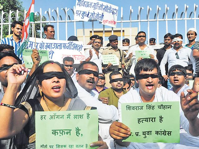 Youth-Congress-workers-stage-a-demonstration-against-the-scam-in-Bhopal-on-Sunday-Mujeeb-Faruqui-HT-Photo