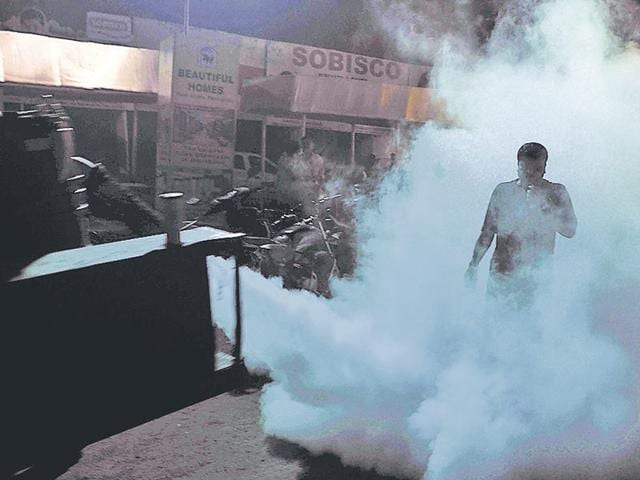Ranchi-officials-carry-out-fogging-in-Jharkhand-s-capital-Malaria-cases-have-been-on-the-rise-even-as-the-health-department-and-health-officials-squabble-over-pay-cuts-HT-File-Photo