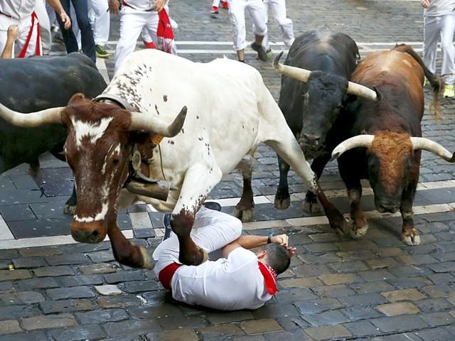 A-steer-jumps-over-a-fallen-runner-as-two-Jandilla-fighting-bulls-follow-behind-at-the-Mercaderes-curve-during-the-first-running-of-the-bulls-of-the-San-Fermin-festival-in-Pamplona-northern-Spain-July-7-2015-Reuters