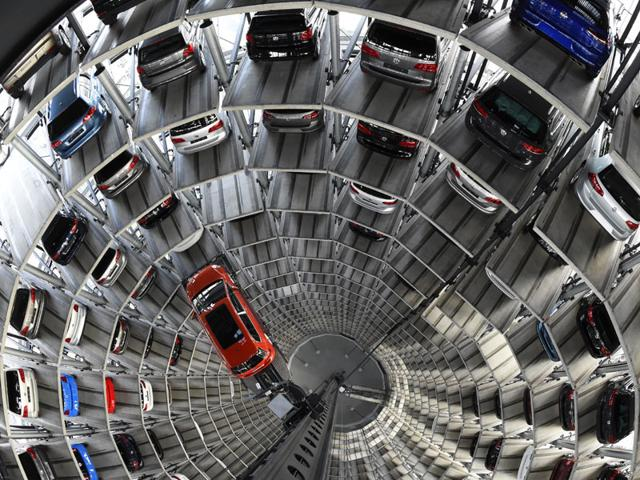 A-VW-Golf-is-pictured-inside-the-so-called-cat-towers-of-car-manufacturer-Volkswagen-AG-VW-Photo-AFP