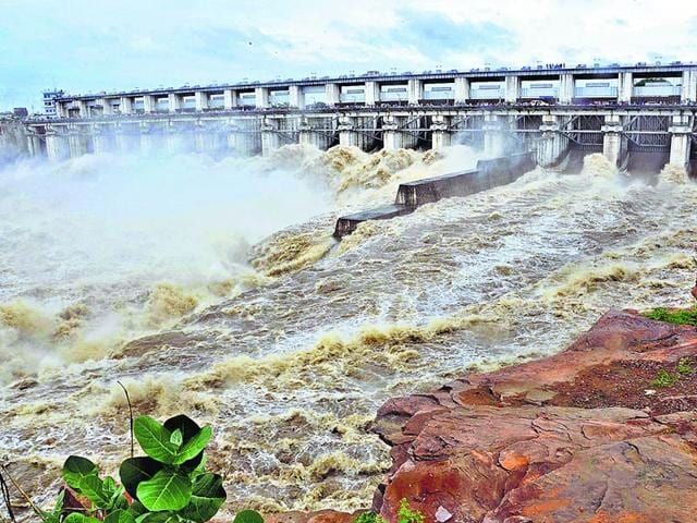 Sluice-gates-of-the-Kota-barrage-were-opened-to-discharge-2-25-lakh-cusecs-of-water-owing-to-the-heavy-inflow-of-water-from-the-Gandhi-Sagar-Dam-in-Madhya-Pradesh-on-Monday-AH-Zaidi-HT-Photo