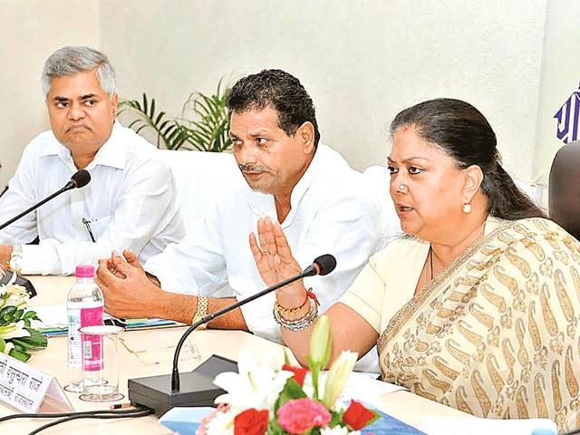 CM-Vasundhara-Raje-addresses-the-two-day-orientation-workshop-for-newly-elected-zila-pramukhs-at-Indira-Gandhi-Panchayti-Raj-Institute-in-Jaipur-on-Monday-HT-Photo