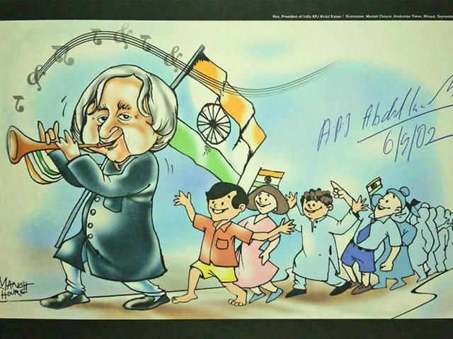 Autographed-copy-of-the-illustration-Manish-Choure-made-for-HT-in-2002-on-Abdul-Kalam-s-visit-to-Bhopal-as-President