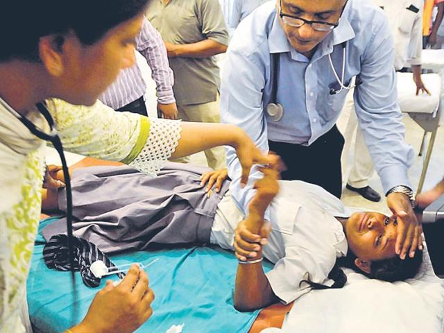 A-student-undergoing-treatment-at-the-Cantonment-hospital-on-Wednesday-HT-Photo-Deepak-Gupta