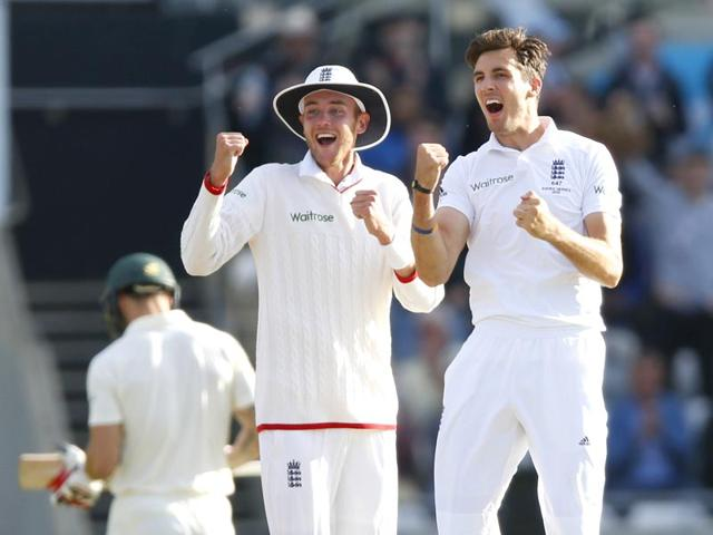 Steven-Finn-and-Stuart-Broad-celebrate-the-wicket-of-Australia-s-Mitchell-Johnson-on-Day-2-of-the-third-Ashes-Test-at-Edgbaston-on-July-30-2015-Reuters-Photo