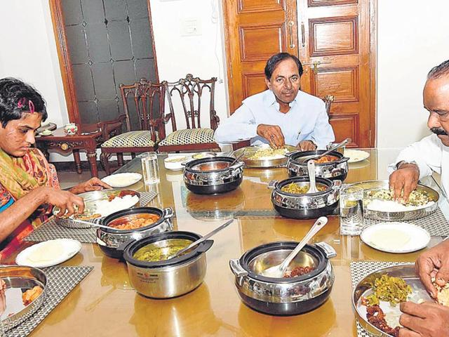 KCR-centre-eats-lunch-at-home-with-19-year-old-Pratyusha-who-was-rescued-earlier-from-her-abusive-parents-Photo-by-special-arrangement