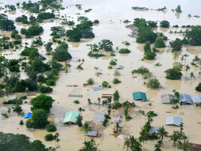 An-aerial-view-shows-the-flooded-area-of-Kalay-in-Myanmar-AFP-Photo