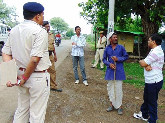 Police-force-was-deployed-at-Bagh-Pipariya-village-in-Raisen-district-on-Sunday-after-a-Dalit-man-was-beaten-to-death-HT-photo