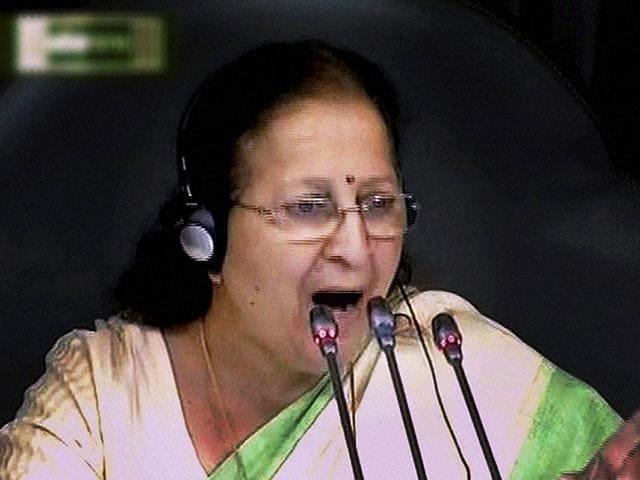 Lok Sabha speaker Sumitra Mahajan,Lok Sabha,Congress MPs suspended from Lok Sabha