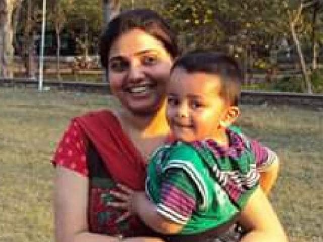 Dr-Gauri-Rai-with-her-child-Dr-Rai-who-was-earlier-posted-in-Mhow-was-transferred-to-Ujjain-in-the-first-week-of-July-and-has-now-been-moved-to-Dhar-HT-file