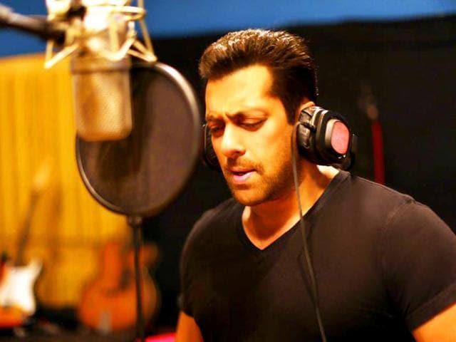 Salman Khan during the recording of his song for Athiya Shetty, Sooraj Pancholi-starrer Hero.