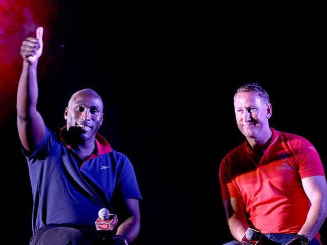 Former-Arsenal-players-Sol-Campbell-and-Ray-Parlour-pick-the-players-to-watch-out-for-this-EPL-season-They-were-in-Mumbai-for-the-PUMA-Arsenal-kit-launch-Satish-Bate-HT-photo