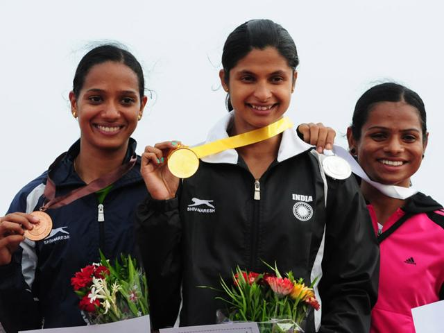 Dutee-Chand-extreme-right-bagged-the-silver-medal-in-100-metre-race-during-the-Railway-Athletic-Championship-in-Bhopal-on-Thursday-Mujeeb-Faruqui