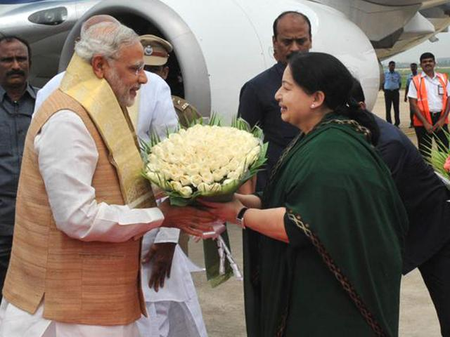 Prime-Minister-Narendra-Modi-was-received-by-Tamil-Nadu-chief-minister-J-Jayalalithaa-at-the-Chennai-airport-Picture-credit-Press-Information-Bureau