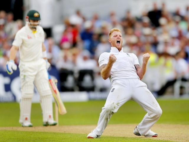 England-s-Ben-Stokes-celebrates-the-dismissal-of-Australia-s-Peter-Nevill-left-on-Day-2-of-the-Investec-Ashes-series-fourth-Test-match-at-Trent-Bridge-Nottingham-on-August-7-2015-Reuters-Photo