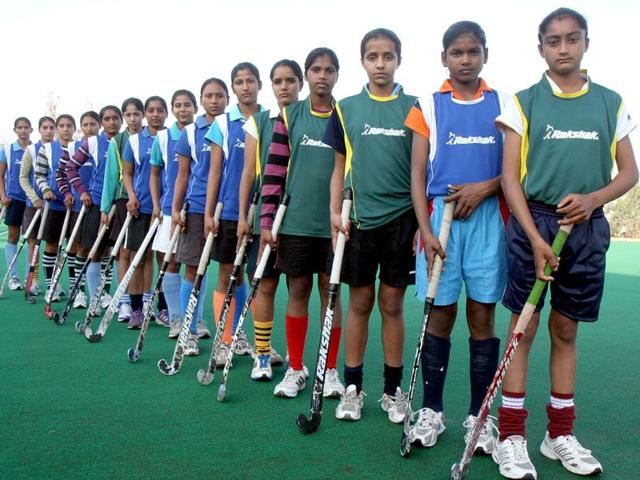 Girls-practice-at-the-Sri-Guru-Granth-Sahib-World-University-Hockey-Academy-in-Fatehgarh-Sahib-HT-Photo