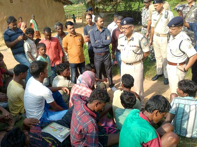 Police-personnel-at-the-spot-where-five-women-accused-of-practicing-witchcraft-were-beaten-to-death-in-a-village-of-Kinijia-in-Jharkhand-on-Saturday-PTI-Photo