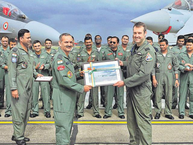 IAF-group-captain-A-Srivastav-left-presents-a-memento-to-his-RAF-counterpart-wing-commander-Chris-Moon-commanding-officer-of-3-Fighter-Squadron-at-RAF-Coningsby-in-the-UK-PTI-Photo