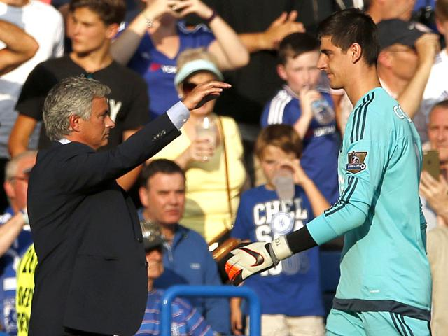 Chelsea-goalkeeper-Thibaut-Courtois-walks-past-manager-Jose-Mourinho-after-being-sent-off-in-the-English-Premier-League-opener-against-Swansea-City-at-Stamford-Bridge-London-on-August-8-2015-Reuters-Photo