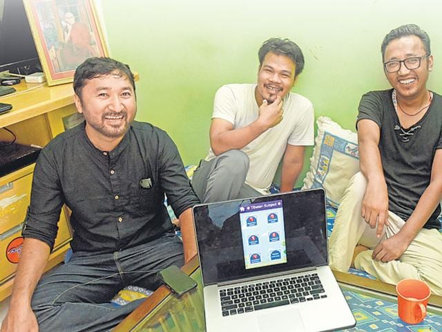 Delhi-based-Dhondup-Passang-in-white-with-the-co-founders-of-Tibetan-Kids-an-app-that-helps-teach-the-language-to-children-living-in-exile-HT-Photo-Saumya-Khandelwal