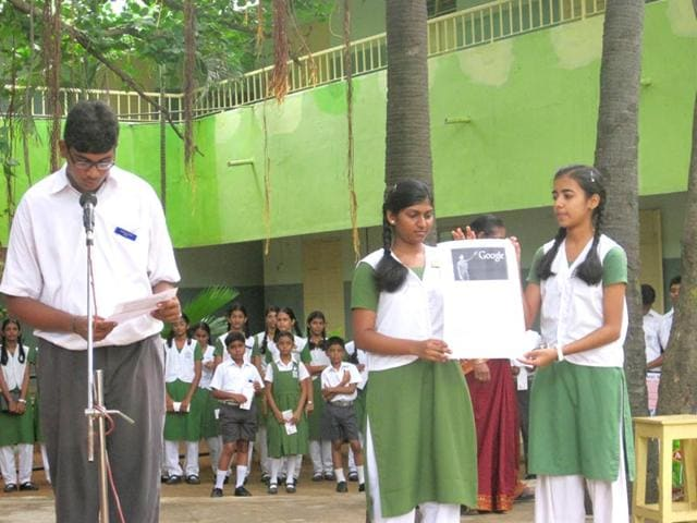 The-morning-assembly-at-Vanavani-Matriculation-Higher-Secondary-School-as-the-announcement-of-news-about-the-success-of-Sundar-Pichai-the-new-CEO-of-Google-in-Chennai-Indian-on-Tuesday-August-11-2015-Handout-Photo-provided-by-HT-correspondent-Lakshman-Kochi