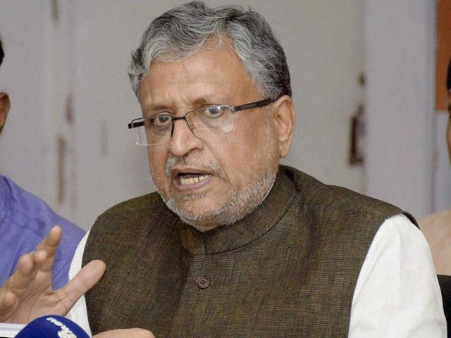BJP leader Sushil Kumar Modi speaking during a press meet in Patna. (HT Photo/AP Dube)