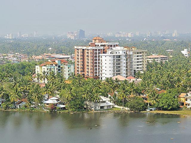 General view of Kochi city, Kerala in south India