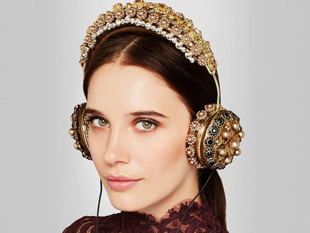 These ornately embellished headphones by Dolce & Gabbana made a fashionable debut on the Milan Fashion Week Fall 2015 runway