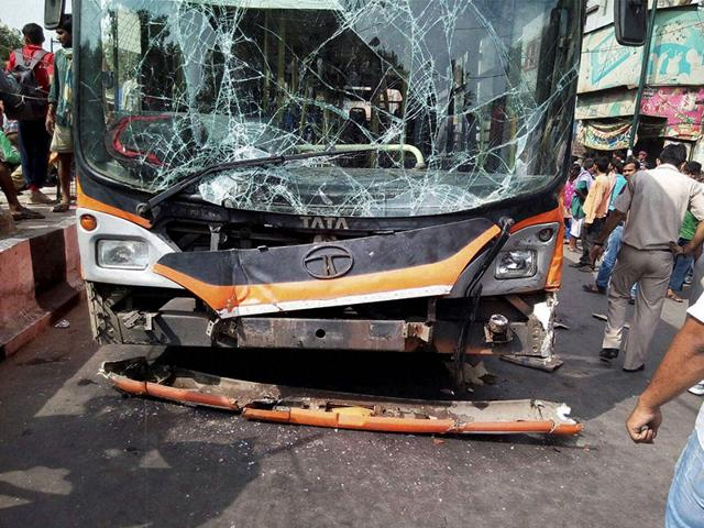 A damaged bus after an accident in Chandni Chowk, New Delhi. (PTI Photo)