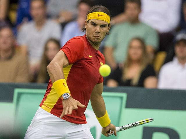 Spain's Rafael Nadal during his Davis Cup relegation playoff match against Mikael Toregaard of Denmark in Odense, Denmark, on September 18, 2015. (Reuters Photo)