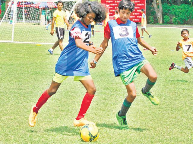 After intense practice for over a month, it's time for these kids to take their skills to the pitch. The HT GIFA (Great Indian Football Action) will officially kick off with a grand opening ceremony at the Tau Devi Lal Stadium in Gurgaon on Sunday, September 20. (Sanjeev Verma, Abhinav Saha/HT Photo)