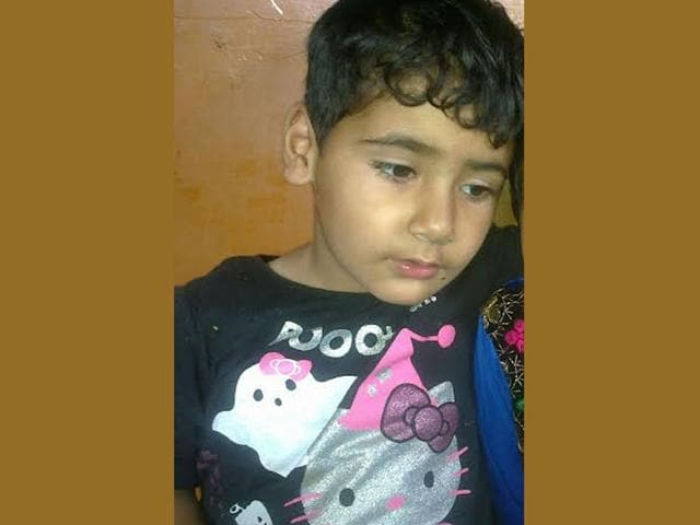 Three year old Burhaan and his father were killed when militants in Sopore. (HT Photo)